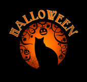 Happy Halloween text spooky forest and black cat  EPS10 file. Royalty Free Stock Photos