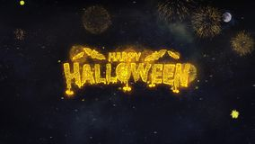 Happy Halloween Text Wishes Reveal From Firework Particles Greeting card.