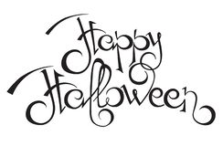 Happy Halloween text. Vector calligraphy royalty free stock photography