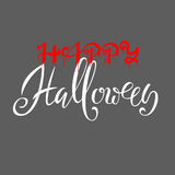 Happy Halloween text. Words are written in blood with blood Drops. Vector Illustration with gray background. Stock Photos