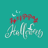 Happy Halloween text. Words are written in blood with blood Drops. Vector Illustration with green background. Flat Royalty Free Stock Images