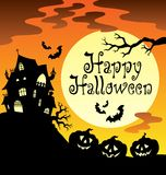 Happy Halloween theme with Moon 1 Royalty Free Stock Image