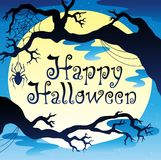 Happy Halloween theme with Moon 3 Stock Images