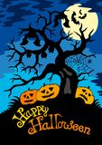 Happy Halloween theme with tree Royalty Free Stock Images
