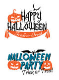 Happy Halloween themed graphics. With pumpkins and flying bats royalty free illustration