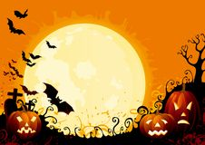 Happy Halloween. Three glowing halloween pumpkins, and many flying  bats on  abstract background with graveyard and big moon Stock Photo