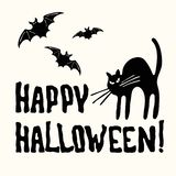 Happy Halloween title, cat and bat on the white royalty free stock images