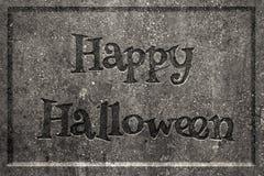 Happy Halloween tombstone. Tombstone with engraved words Happy Halloween Stock Photos