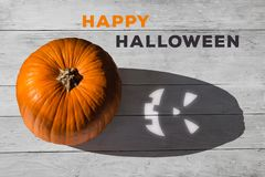 Free Happy Halloween Top View Of Pumpkin With Spooky Shadow Stock Images - 162255714