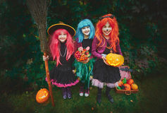 Happy Halloween treaters. Three happy witches asking for treat on Halloween evening Stock Photos