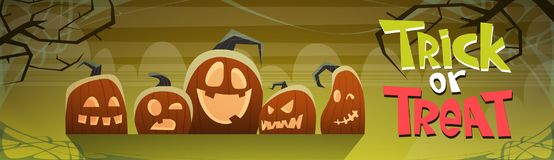 Happy Halloween Trick Or Treat Banner Different Pumpkins Traditional Decoration Greeting Card Stock Image