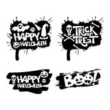 Happy Halloween, Trick or treat, boo isolated quote design elements. Vector holiday illustration. royalty free illustration