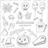 Happy Halloween Trick or Treat Doodles. Hand Drawn Holiday Design Royalty Free Stock Photography