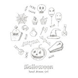 Happy Halloween Trick or Treat Doodles. Hand Drawn Holiday Design Royalty Free Stock Images