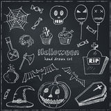 Happy Halloween Trick or Treat Doodles. Hand Drawn Holiday Design Stock Images