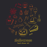 Happy Halloween Trick or Treat Doodles. Hand Drawn Holiday Design Stock Photos