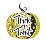 Happy Halloween. Trick or treat. Glamorous sparkling pumpkin with gold tinsel. Vector illustration. Design for greeting Stock Image