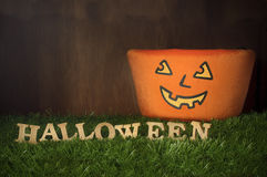 Happy Halloween, Trick or Treat on grass background, nature concept Stock Images