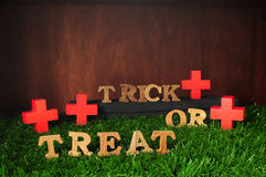 Happy Halloween, Trick or Treat on grass background, nature concept Royalty Free Stock Images