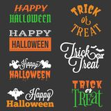 Happy Halloween and trick or treat typographic. Headline in vary style with elements such as ghost, bats Stock Photography