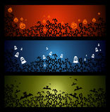 Happy Halloween trick or treat web banners set EPS10 file. Royalty Free Stock Photos