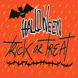 Happy Halloween trick or treat word and bat illustration Royalty Free Stock Image