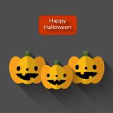 Happy Halloween trio pumpkins flat illustration Royalty Free Stock Images