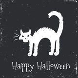 Happy Halloween Typographical Background. Cat Stock Image