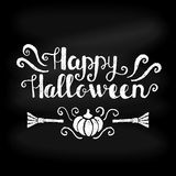 Happy Halloween typographical background on chalkboard Royalty Free Stock Photography
