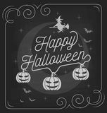 Happy Halloween typography on chalkboard design Stock Photo
