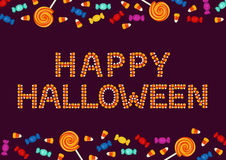 Happy Halloween typography made of small candies. Holiday trick or treat concept greeting card, poster Royalty Free Stock Photos
