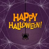 Happy Halloween typography with spider web border Stock Photography