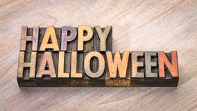 Happy Halloween typography in wood type royalty free stock photos