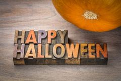Happy Halloween typography in wood type stock images