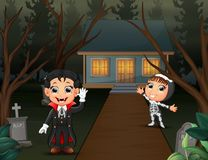 Happy halloween with vampire and skeleton in the home page stock illustration