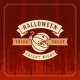 Happy Halloween Vector Background and Pumpkin Stock Photo