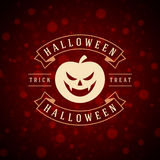 Happy Halloween Vector Background and Pumpkin. Happy Halloween Typographic Design Vector Background and Pumpkin Royalty Free Stock Photos