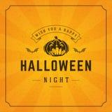 Happy Halloween Vector Background and Pumpkin Stock Image