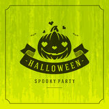 Happy Halloween Vector Background and Pumpkin. Happy Halloween Typographic Design Vector Background and Pumpkin Royalty Free Stock Photography