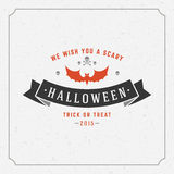 Happy Halloween Vector Background. Vintage Happy Halloween Typographic Design Vector Background Royalty Free Stock Photos