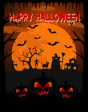 Happy Halloween vector background with witch Stock Image
