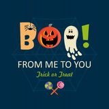 Happy Halloween vector banner. Boo from me to you!. Happy Halloween vector banner with halloween icons. Trick or treat. Boo from me to you Stock Photo