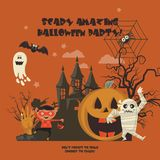 Happy Halloween vector banner. Scary amazing halloween party. Happy Halloween vector banner with halloween icons. Trick or treat. Scary amazing halloween party Stock Images