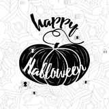 Happy Halloween vector banner. Holiday calligraphy with spider web and pumpkin stock illustration