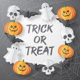 Happy Halloween  banner. Paper cut style. Vector illusration stock images