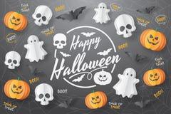 Happy Halloween  banner. Paper cut style. Vector illusration stock photos