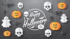 Happy Halloween  banner. Paper cut style. Vector illusration royalty free stock photos