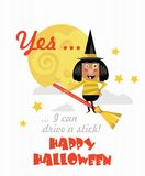 Happy Halloween vector banner. Yes ... I can drive a stick. Happy Halloween vector banner with halloween icons. Trick or treat. Yes ... I can drive a stick Royalty Free Stock Photo