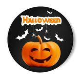 Happy Halloween vector black sticker font. Pumpkin illustration for greeting cards, party invitation, posters, labels Royalty Free Stock Photo