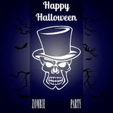 Happy Halloween Vector booklet. Skull in the cylinder invites to the party Stock Photography